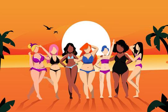 Women on the beach. Vector cartoon illustration. Plus size models in fashion bikini swimsuits. Body positive concept.