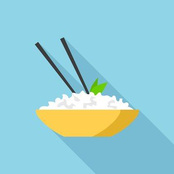 Rice of bowl icon. Flat illustration of rice of bowl vector icon for web design