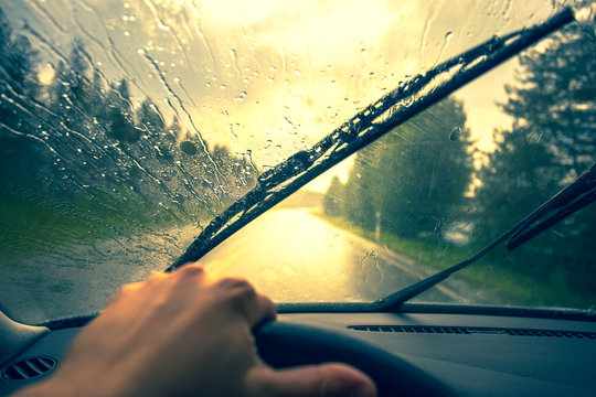 View from the car's cab at rain. Photo from Finland.