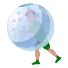 Zorb player icon. Cartoon of zorb player vector icon for web design isolated on white background
