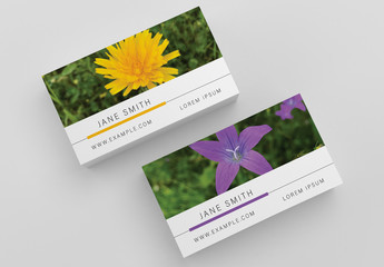 Business Card Layout with Plant Photographs