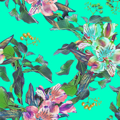 Foto op Canvas Draw Seamless pattern of tropical plants