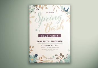 Spring Party Flyer Layout with Illustrated Floral Elements