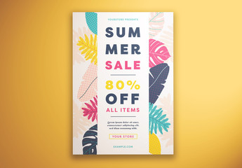 Summer Sale Flyer Layout with Patterned Floral Elements