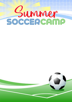 Summer Soccer Camp. Template poster with realistic soccer ball. Place for your text message. Vector illustration.