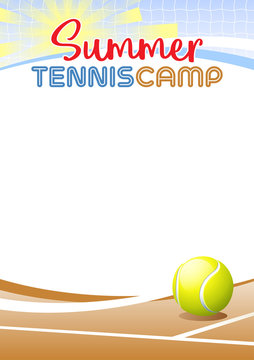Summer Tennis Camp. Template poster with realistic tennis ball. Place for your text message. Vector illustration.
