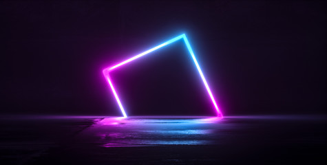 Futuristic Sci-Fi Abstract Blue And Purple Neon Light Shapes On Black Background And Reflective Concrete With Empty Space For Text 3D Wall mural