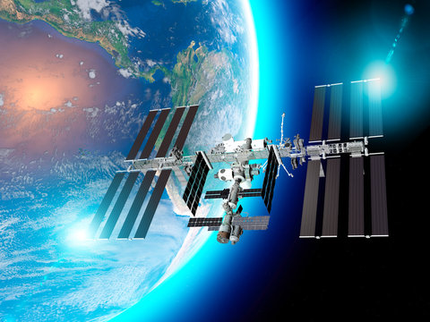 The International Space Station (ISS) is a space station, or a habitable artificial satellite, in low Earth orbit. Satellite view of the earth and ISS. Element of this images are furnished by Nasa. 3d