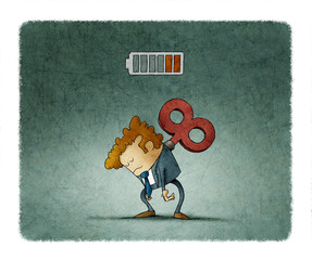 Tired businessman with a key winder on her back has no energy. illustration