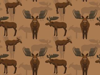 Cute Moose Background Seamless Wallpaper