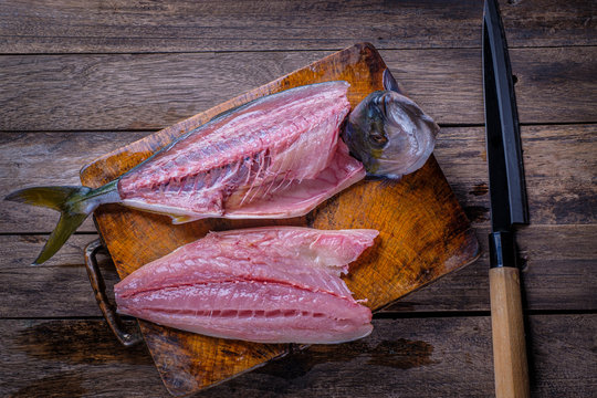 Hamachi fish waiting to be dissected