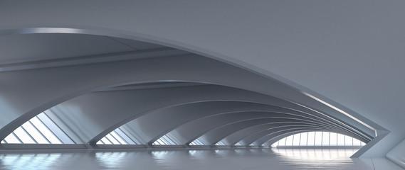 Fototapeta Futuristic curve tunnel. Long corridor interior view. Future modern showroom background concept. Abstract interior design. 3D rendering.
