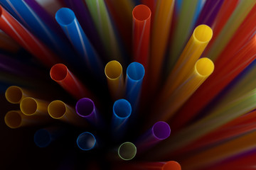 Wall Mural - colored cocktail tubes, background image.  Shallow DOF