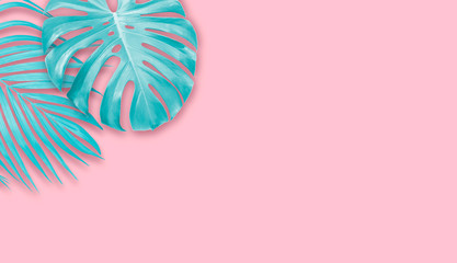 Wall Mural - Tropical leaves on pink paper background with copy space Minimal summer banner design