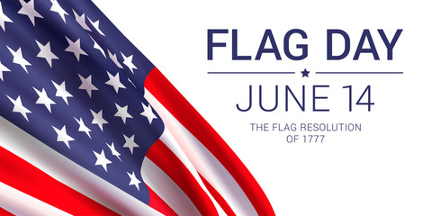 14th June - Flag Day in the United States of America. Vector banner design template with American flag and text on white background.