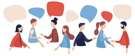 Group of people talking . Businessmen discuss social network, news, social networks, chat, dialogue speech bubbles. Flat cartoon style. Vector illustration