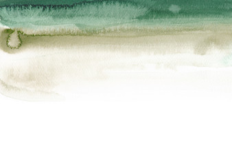 Fototapeta Emerald and sage green background Abstract simple watercolor texture Paint stain obraz