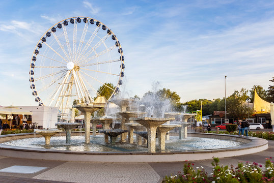 Famous fountain with mill wheel in Gdynia