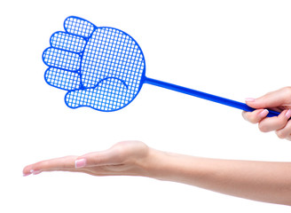Blue fly swatter in hand on a white background isolation