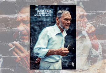 Flyer Layout with Bitmapped Image of a Man Smoking