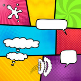 Bright Comic book Elements  Speech bubbles on the different