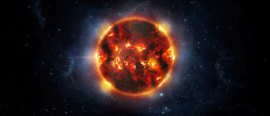 Wall Mural - Panoramic view of the Sun, star and galaxy, view from space. Elements of this image furnished by NASA