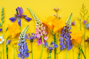 Wall Mural - Bright composition of summer flowers on the yellow background