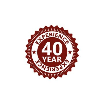 Forty years experience icon, sign, button, 40 years experience