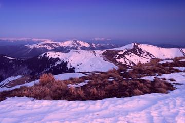 Snowy hills in twilight. Carpathians, Ukraine