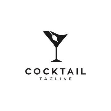 cocktail summer drink vector icon logo design