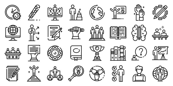 Staff education icons set. Outline set of staff education vector icons for web design isolated on white background
