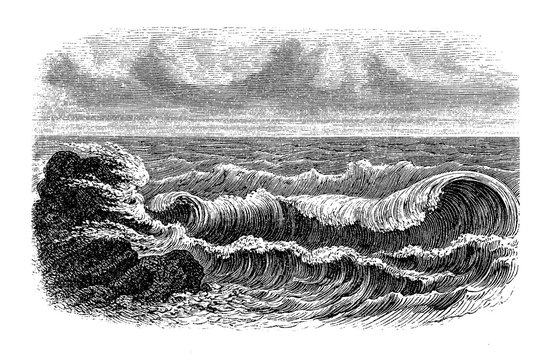Chapter decoration or label: elegant sea waves lapping gently onto the shore