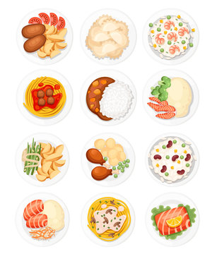 Set of different dishes on the plates. Traditional food from around the world. Icons for menu logos and labels. Flat vector illustration isolated on white background