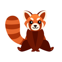 Cute adorable red panda sit on floor cartoon design animal character flat vector style illustration on white background