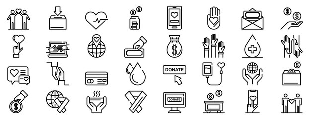 Fototapeta Donations icons set. Outline set of donations vector icons for web design isolated on white background obraz
