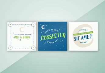 Square Social Media Layouts with Illustrative Night Sky Elements