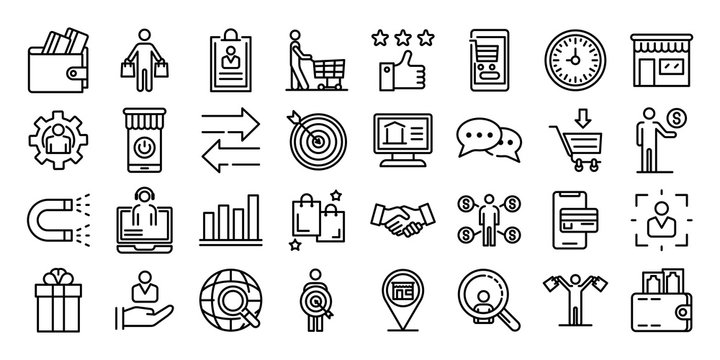 Buyer icons set. Outline set of buyer vector icons for web design isolated on white background