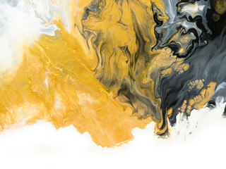 Black and gold creative abstract hand painted background, marble texture - fototapety na wymiar