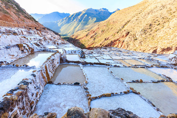 Maras Salt Pans in Peru's Sacred Valley Where Local People Have Mined Salt Since Centuries