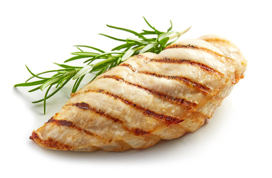 Grilled chicken breast with rosemary isolated on white background