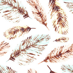 Seamless pattern with marine plants, leaves and seaweed. Hand drawn marine flora in watercolor style.