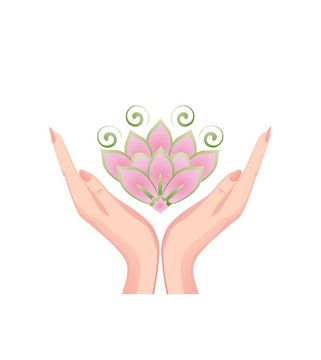 Female hands holding a beautiful pink lotus flower