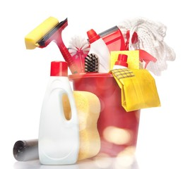 House Cleaning Equipment and Supplies in Bucket