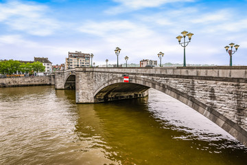 Fotomurales - Bridge over the river Meuse in Huy, Ardennes, Belgium.