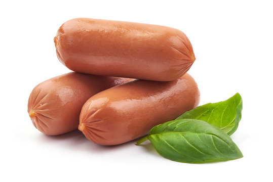 Fresh pork Boiled sausages with basil, close-up, isolated on white background