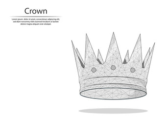 Abstract image Crown in the form of lines and dots, consisting of triangles and geometric shapes. Low poly vector background.