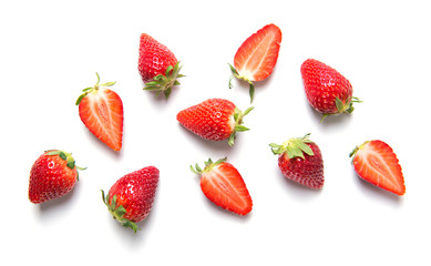 Ripe strawberries isolated on white background, berry pattern, top view Wall mural