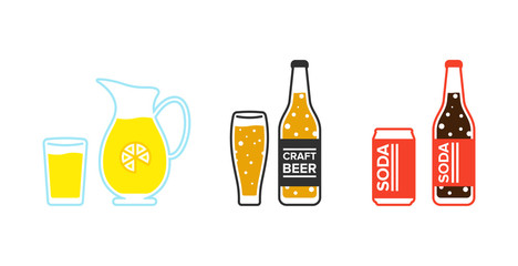 Set of drinks. Lemonade, bber and soda in a glass bottle and metal can. Isolated vector illustartion.
