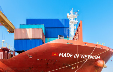 Trade war , Made in Vietnam smart logistic concept. Shipping Cargo ship business Container import and export company for Logistics and Transportation.Chinese investment toward Southeast Asia.