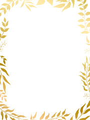 herbal mix vector frame in gold style. Silhouette plants, branches and leaves on white background.